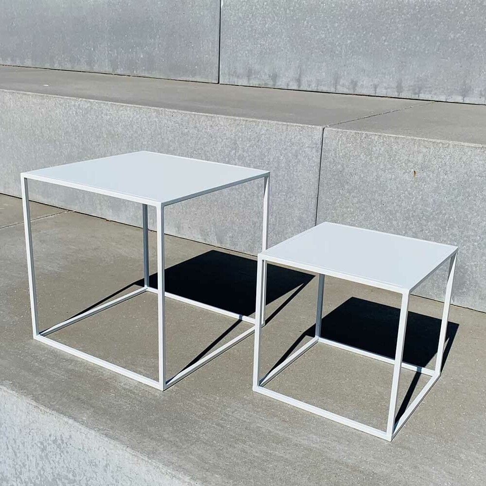 white metal tables - different sizes