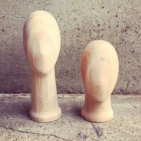 wooden oak heads for hats & scarfs