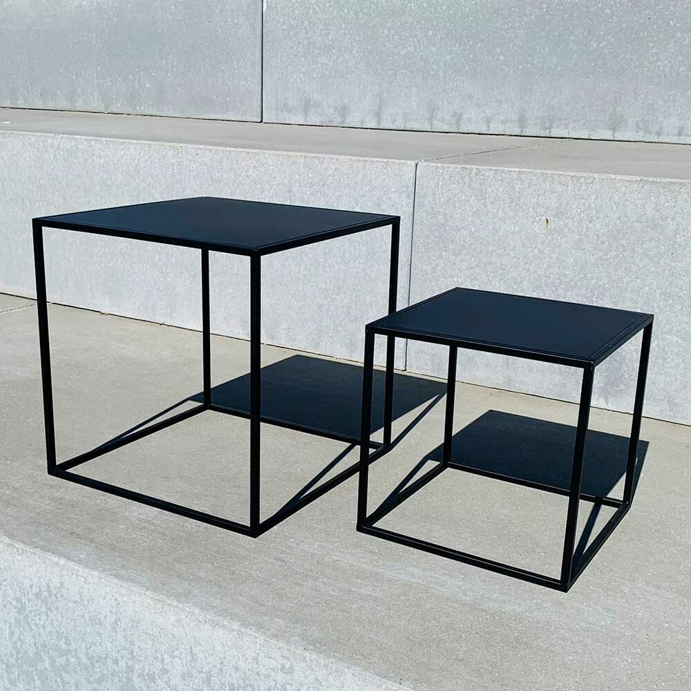 black metal tables - different sizes